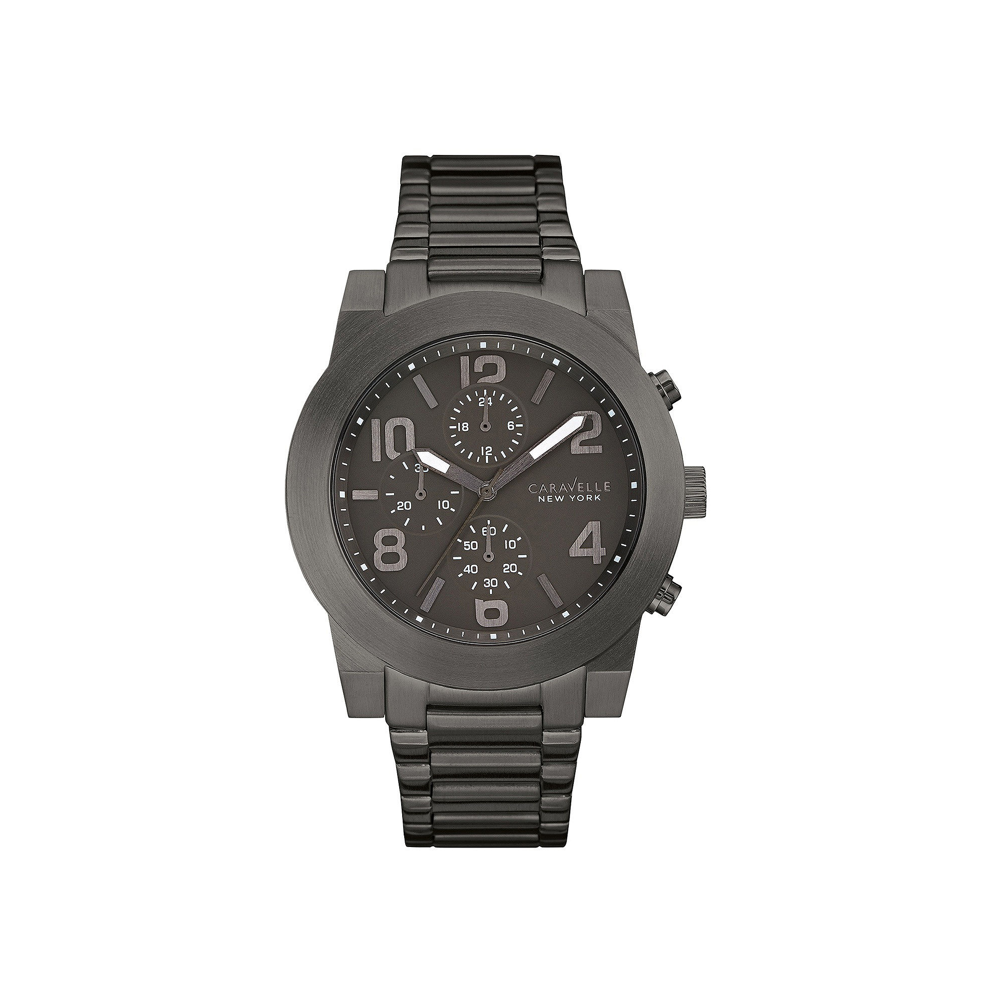 Caravelle New York Mens Gray Stainless Steel Sport Watch 45A124