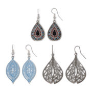 Decree® Silver-Tone Novelty Drop 3-pr. Earring Set