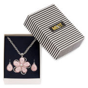 Mixit™ Pink Flower Pendant Necklace and Earring Set