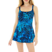 Robby Len by Longitude® Cheetah Princess-Seamed 1-Piece Swimdress