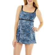 Robby Len by Longitude® Empire-Waist Seamed 1-Piece Swimdress
