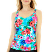 Maidenform Floral Print Underwire Tankini Swim Top