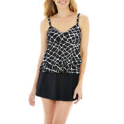 Trimshaper® Geometric Print Tankini Swim Top or Skirted Bottoms