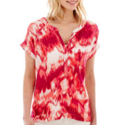 a.n.a® Short-Sleeve Split Pleat-Neck Blouse