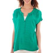 a.n.a® Short-Sleeve Split Pleat-Neck Blouse