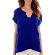 a.n.a® Short-Sleeve Pleat-Neck Blouse