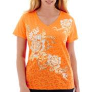 St. John's Bay® Short-Sleeve Burnout Graphic T-shirt - Plus