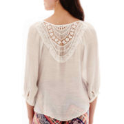 by&by 3/4-Sleeve Crochet-Back Gauze Peasant Top