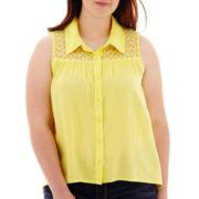 Arizona Sleeveless Button-Front Mesh-Yoke Top - Plus