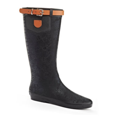 jcpenney.com | Henry Ferrera Wet Stone 100 Belted Crocodile Print Tall Rain Boots
