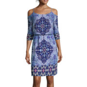 Bisou Bisou® 3/4-Sleeve Cold-Shoulder Printed Dress