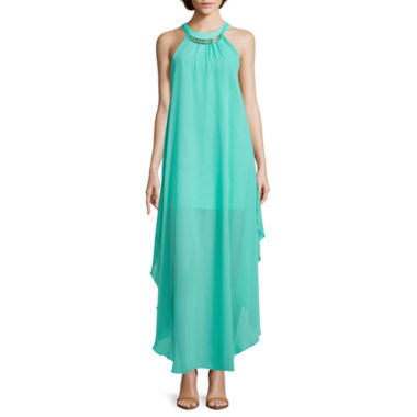 jcpenney.com | Bailey Blue Sleeveless Halter Altered-Hem Necklace Dress- Juniors