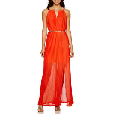 jcpenney.com | Signature by Sangria Pleated Maxi with Chain Belt Dress