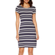 a.n.a® Short-Sleeve Stripe A-Line Dress