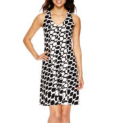 Worthington® Sleeveless Geo-Print A-Line Dress