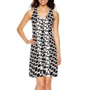 Worthington® Sleeveless Geo-Print A-Line Dress