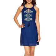 a.n.a® Sleeveless Embroidered-Neck Shift Dress