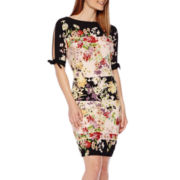 J. Taylor Split-Shoulder Shift Dress