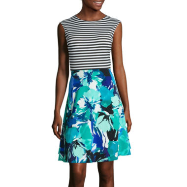 jcpenney.com | Studio 1® Sleeveless Stripe and Floral Fit-and-Flare Dress