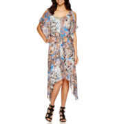 Robbie Bee® Cold Shoulder Paisley Print Maxi Dress