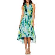 Chetta B Sleeveless Watercolor Wrap Maxi Dress