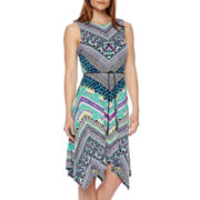 R&K Originals® Sleeveless Tribal Print Belted Maxi Dress