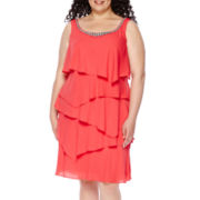 RN Studio by Ronni Nicole Sleeveless Tier Embellished Dress - Plus