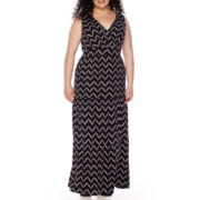 St. John's Bay® Sleeveless Surplice Peasant Maxi Dress - Plus