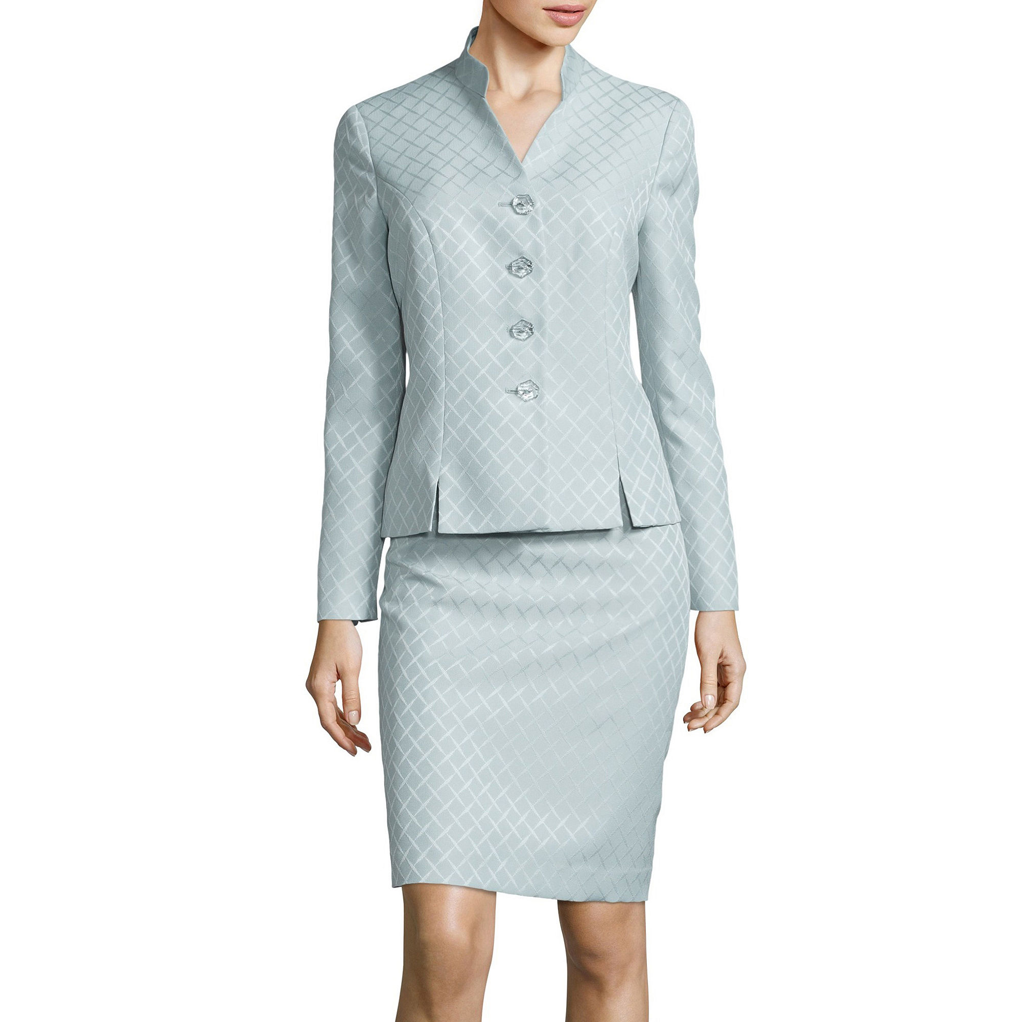 Le Suit Long-Sleeve Jacquard Collarless Skirt Suit plus size,  plus size fashion plus size appare