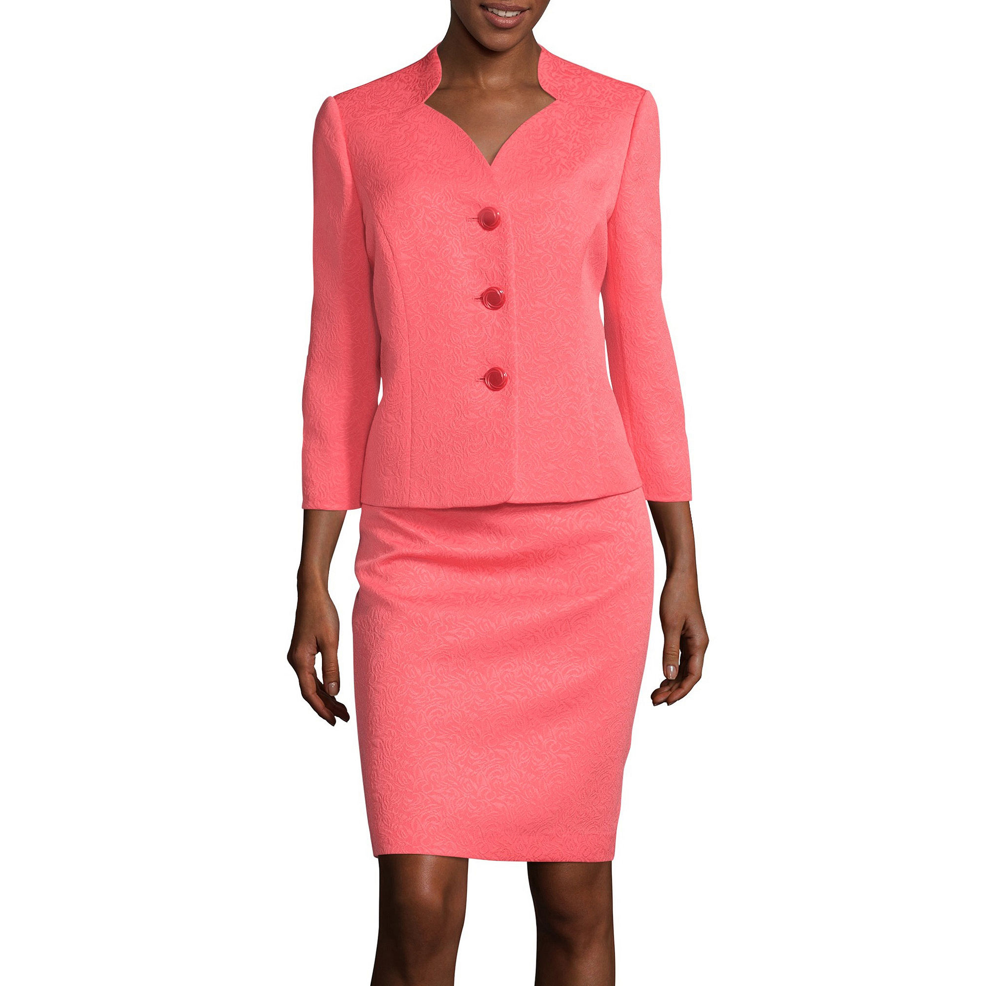 Le Suit Three-Button 3/4-Sleeve Jacquard Jacket and Skirt Suit plus size,  plus size fashion plus size appare