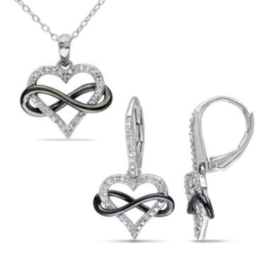 jcpenney.com | 1/5 CT. T.W. Diamond Sterling Silver Infinity Heart Pendant Necklace and Earring Set