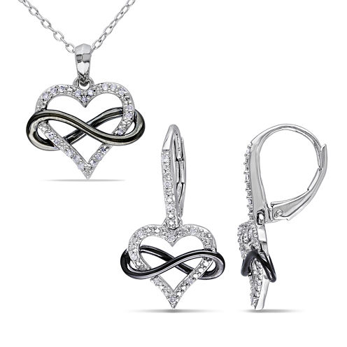 1/5 CT. T.W. Diamond Sterling Silver Infinity Heart Pendant Necklace and Earring Set