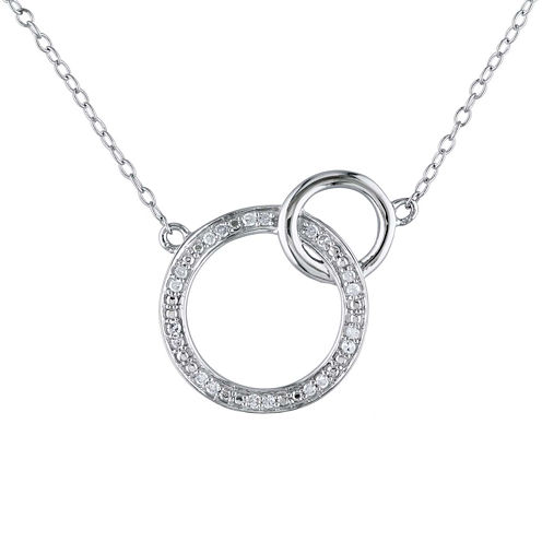 1/10 CT. T.W. Diamond Sterling Silver Double Circle Pendant Necklace