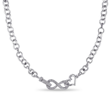 jcpenney.com | 1/10 CT. T.W. Diamond Sterling Silver Heart & Infinity Necklace