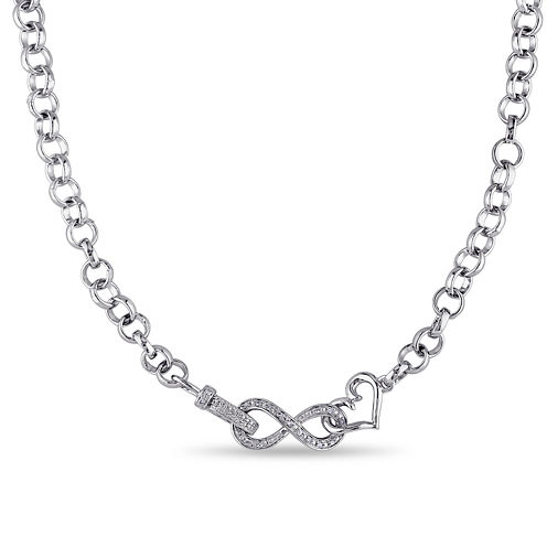 1/10 CT. T.W. Diamond Sterling Silver Heart & Infinity Necklace