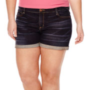 Arizona Roll-Cuff Midrise Denim Shorts - Juniors Plus