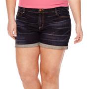 Arizona Roll-Cuff Midrise Denim Shorts - Juniors Plus