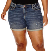 Arizona Midi Denim Shorts - Juniors Plus