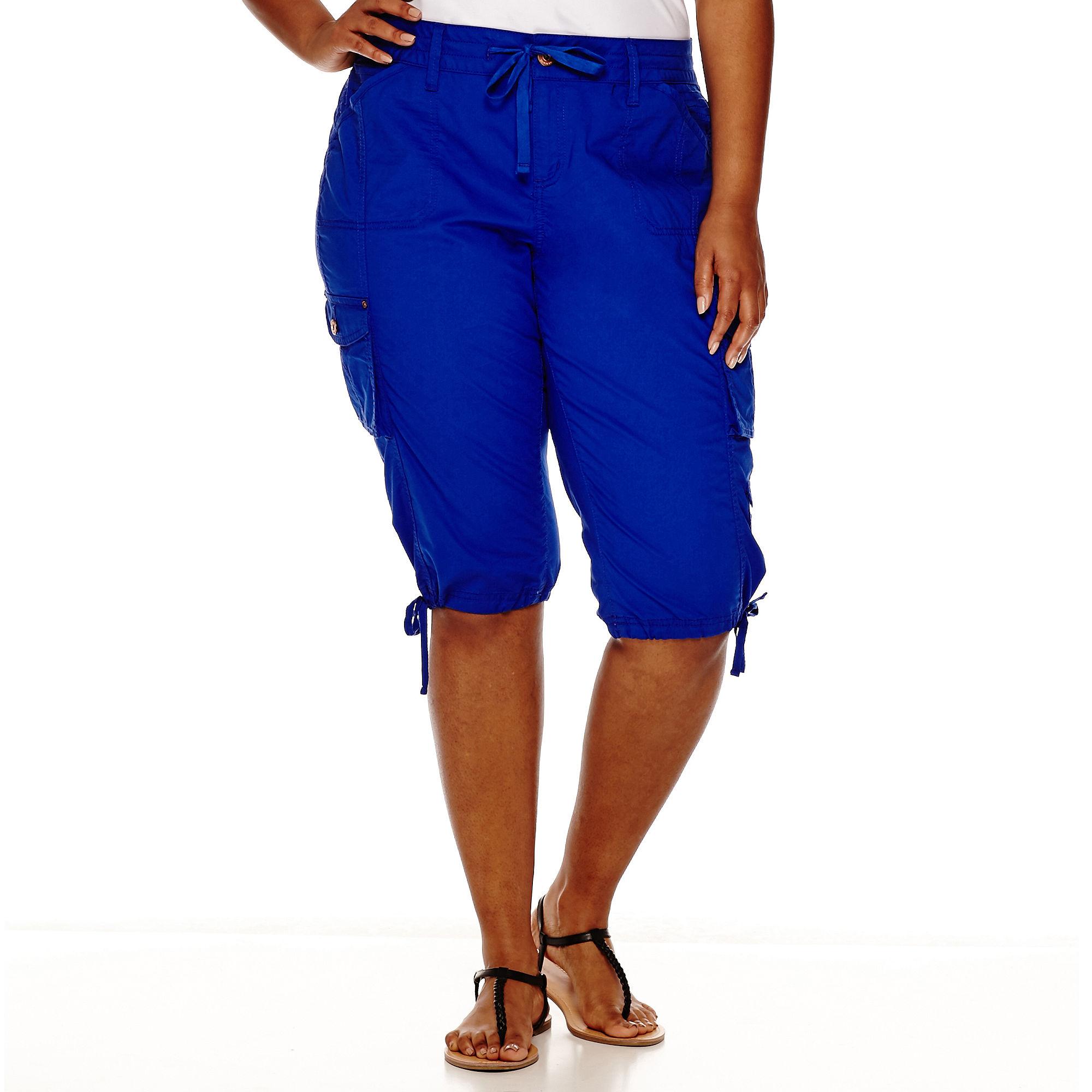 Arizona Poplin Cropped Cargo Pants Juniors Plus | Clothing