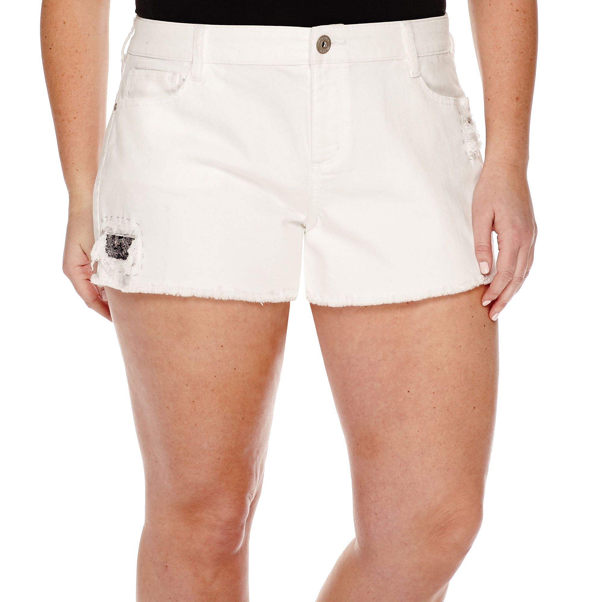 Arizona Blanco Wash Americana Shorts - Juniors Plus plus size,  plus size fashion plus size appare
