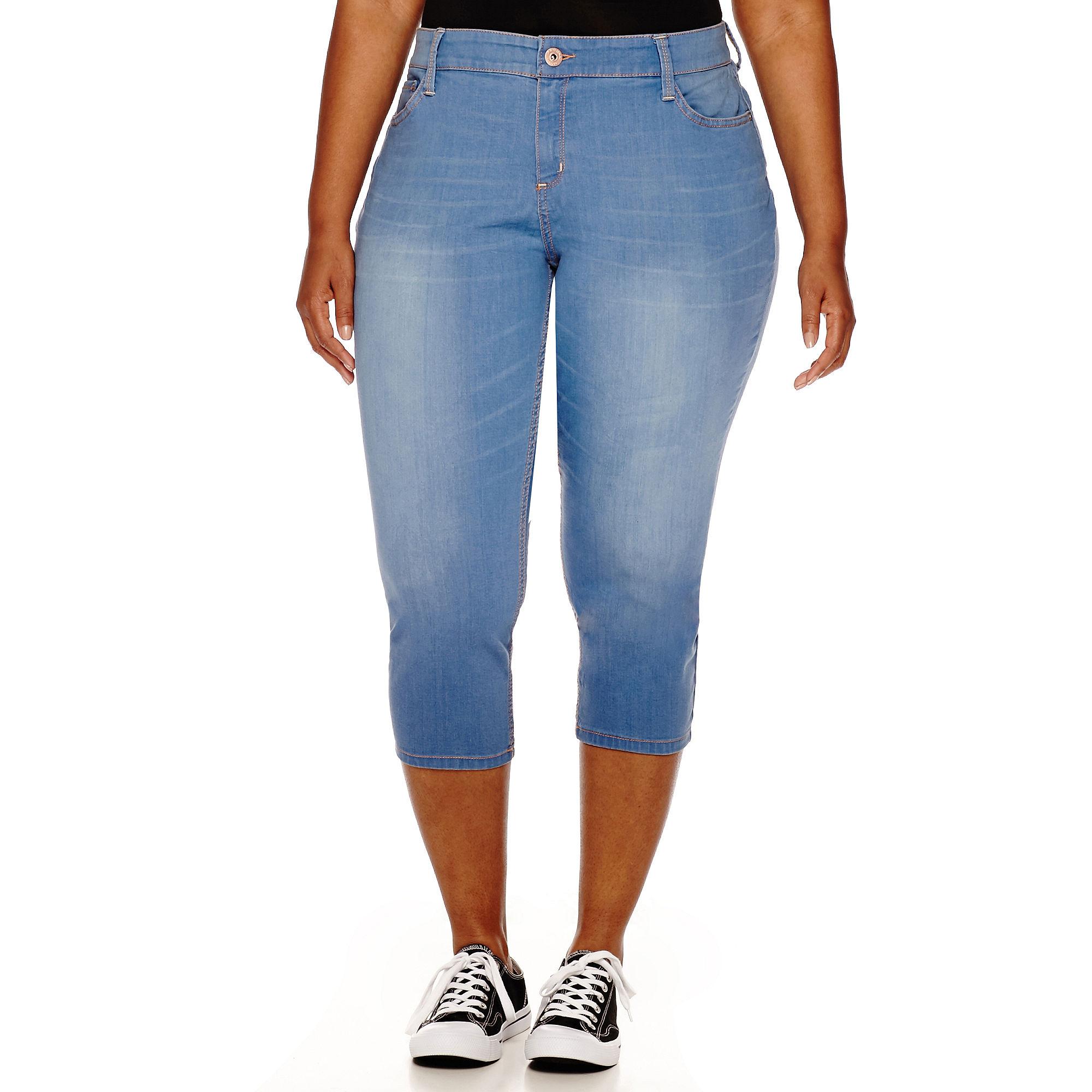 Arizona Cutoff Hem Cropped Jeans - Juniors Plus plus size,  plus size fashion plus size appare