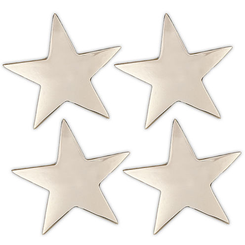 Design Imports Silver-Plated Star Set of 4 Brass Napkin Rings