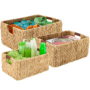 Honey-Can-Do® 3-pc. Rectangular Water Hyacinth Baskets