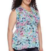 St John's Bay® Sleeveless Peplum Top - Plus