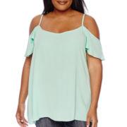 Boutique+ Short-Sleeve Cold Shoulder Ruffle Top - Plus