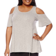 Boutique+ Short-Sleeve Cold Shoulder Swing Top - Plus