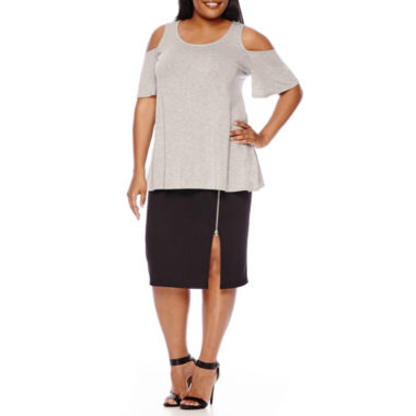 jcpenney.com | Boutique+ Cold Shoulder Swing Top or Zip Slit Midi Ponte Skirt - Plus
