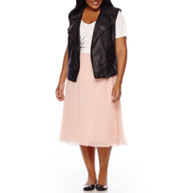 jcpenney.com | The Boutique Moto Vest,Graphic Tee or Pleated Skirt - Plus