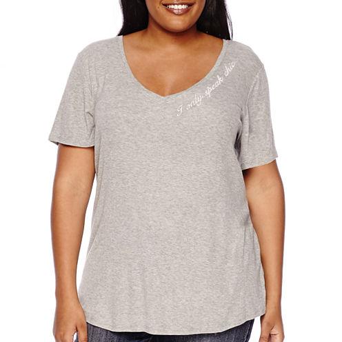 Boutique+ V-Neck Graphic Tee Shirt - Plus
