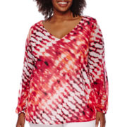 Worthington® Long-Sleeve Chiffon Mesh Cold Sleeve Top - Plus